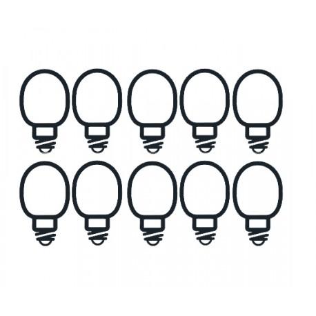 10 Bulbi luminosi in vetro per filo luminoso da 50 luci